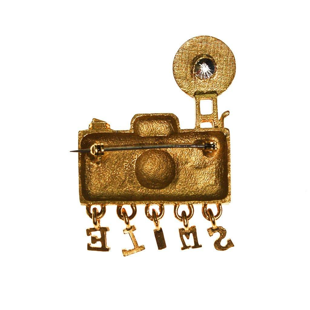 1980s Camera Brooch with Rhinestone - Vintage Meet Modern  - 2