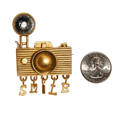 1980s Camera Brooch with Rhinestone by Unsigned Beauty - Vintage Meet Modern Vintage Jewelry - Chicago, Illinois - #oldhollywoodglamour #vintagemeetmodern #designervintage #jewelrybox #antiquejewelry #vintagejewelry