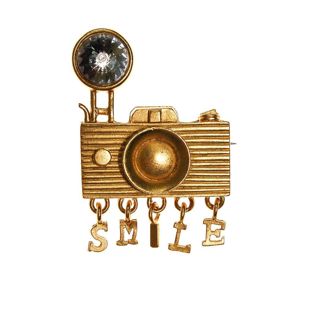 1980s Camera Brooch with Rhinestone - Vintage Meet Modern  - 1