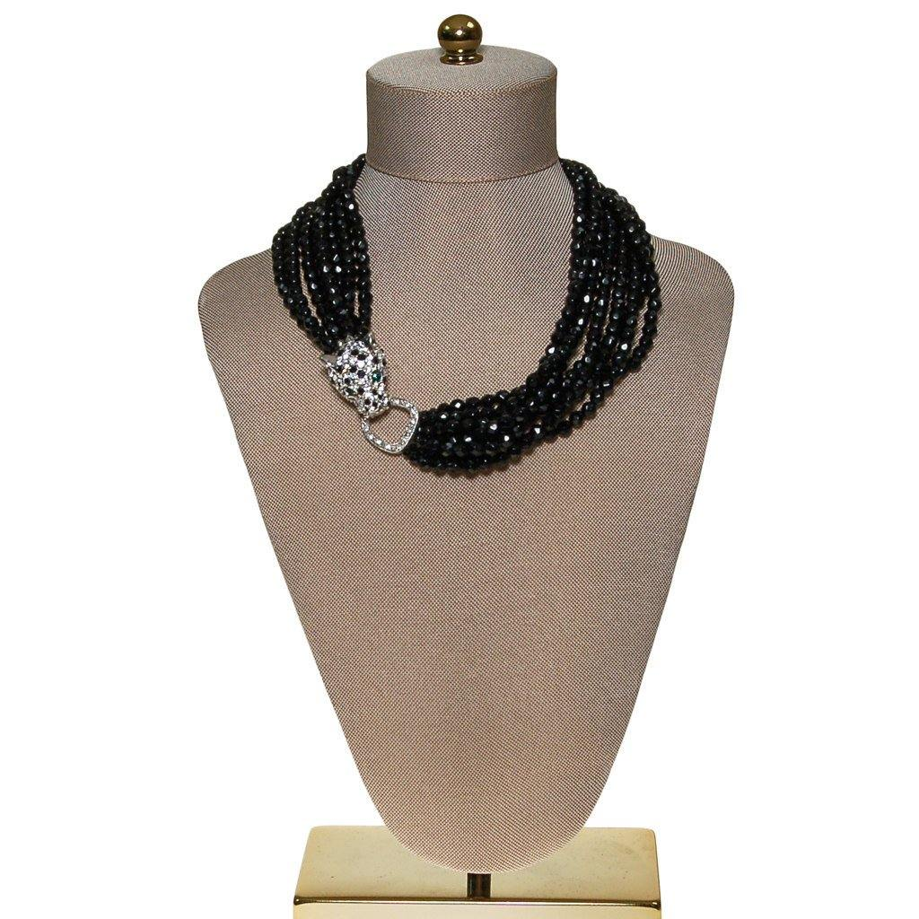 KJL for Avon Panther Necklace, Black Jet Beaded Torsade Statement Necklace - Vintage Meet Modern  - 1