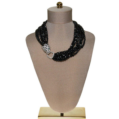 KJL for Avon Panther Necklace, Black Jet Beaded Torsade Statement Necklace by Kenneth Jay Lane - Vintage Meet Modern Vintage Jewelry - Chicago, Illinois - #oldhollywoodglamour #vintagemeetmodern #designervintage #jewelrybox #antiquejewelry #vintagejewelry