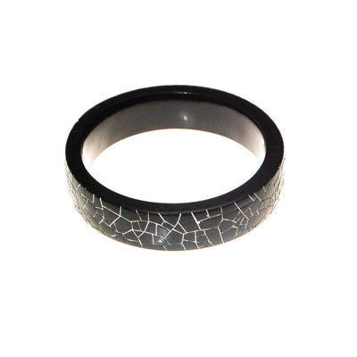 Black and White Crackle Bangle Bracelet by 1960s - Vintage Meet Modern Vintage Jewelry - Chicago, Illinois - #oldhollywoodglamour #vintagemeetmodern #designervintage #jewelrybox #antiquejewelry #vintagejewelry