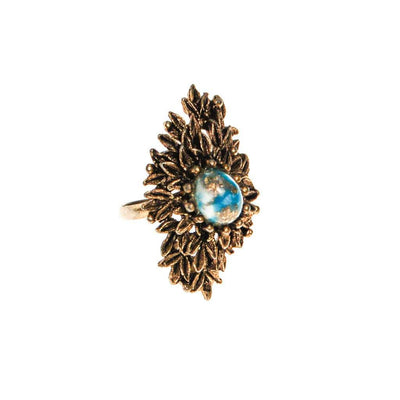 Retro Statement Ring Antique Gold Tone with Speckled Turquoise Cabochon Center by 1960s - Vintage Meet Modern Vintage Jewelry - Chicago, Illinois - #oldhollywoodglamour #vintagemeetmodern #designervintage #jewelrybox #antiquejewelry #vintagejewelry