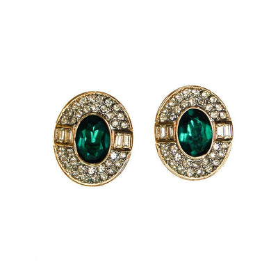 Emerald Green and Diamante Rhinestone Statement Earrings by Clip On - Vintage Meet Modern Vintage Jewelry - Chicago, Illinois - #oldhollywoodglamour #vintagemeetmodern #designervintage #jewelrybox #antiquejewelry #vintagejewelry