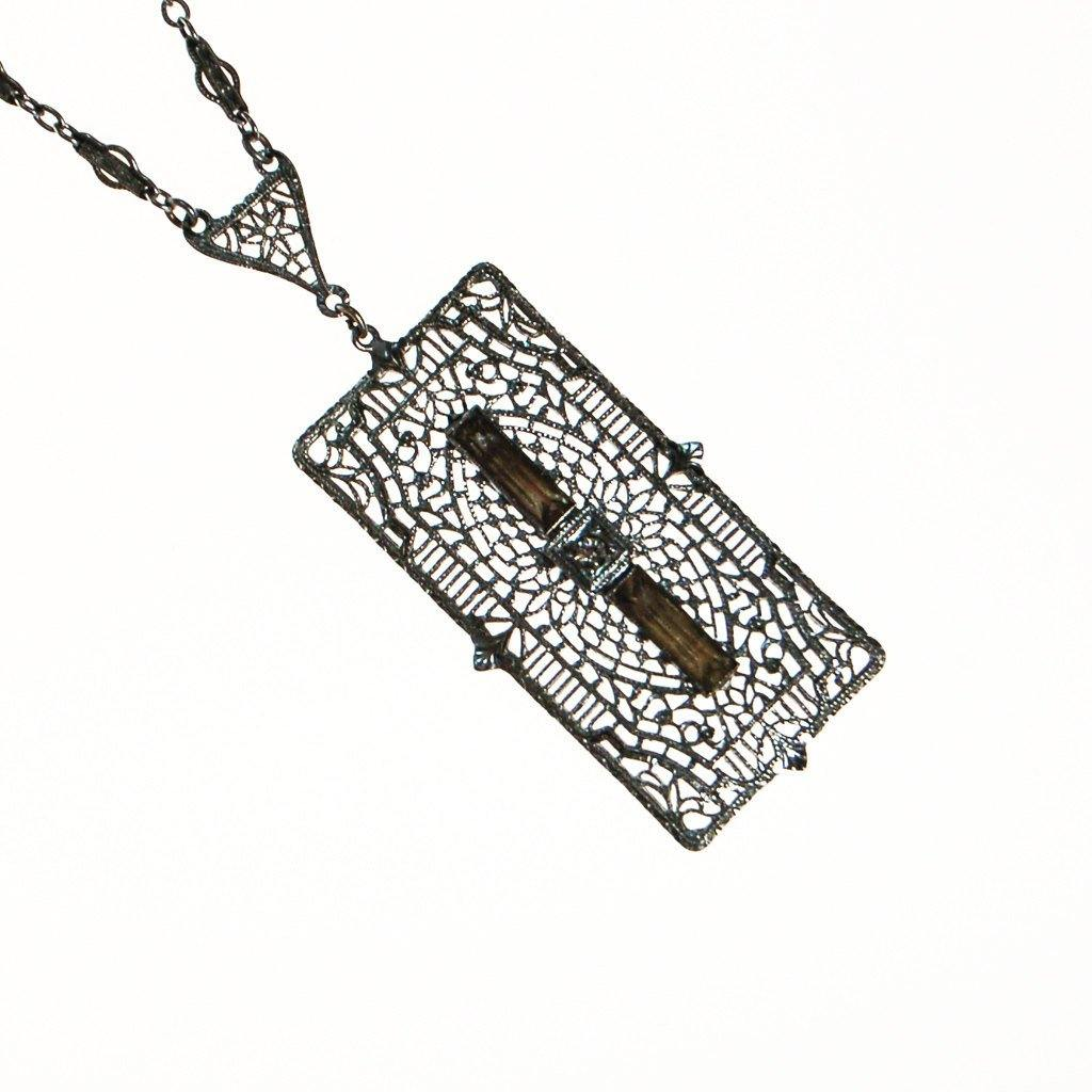 Edwardian Art Deco Filigree and Rhinestone Pendant Necklace - Vintage Meet Modern  - 1