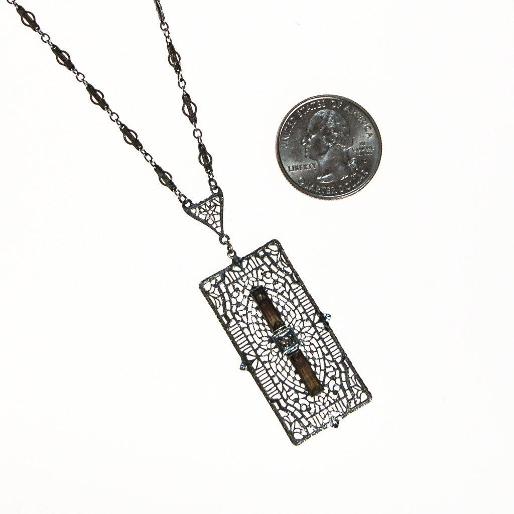 Edwardian Art Deco Filigree and Rhinestone Pendant Necklace - Vintage Meet Modern  - 3