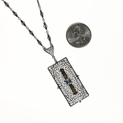Edwardian Art Deco Filigree and Rhinestone Pendant Necklace by Art Deco - Vintage Meet Modern Vintage Jewelry - Chicago, Illinois - #oldhollywoodglamour #vintagemeetmodern #designervintage #jewelrybox #antiquejewelry #vintagejewelry