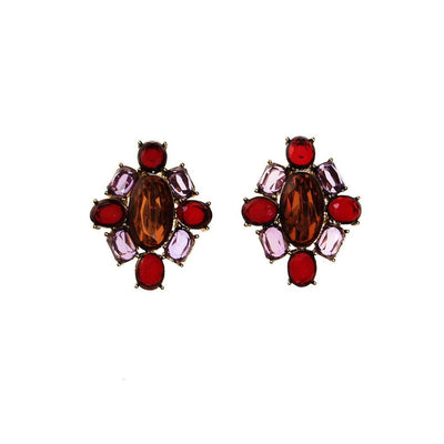Monet Amethyst, Garnet, and Smokey Topaz Crystal Earrings by Monet - Vintage Meet Modern Vintage Jewelry - Chicago, Illinois - #oldhollywoodglamour #vintagemeetmodern #designervintage #jewelrybox #antiquejewelry #vintagejewelry