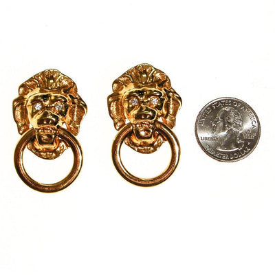 Kenneth Jay Lane Lions Head Doorknocker Earrings by Kenneth Jay Lane - Vintage Meet Modern Vintage Jewelry - Chicago, Illinois - #oldhollywoodglamour #vintagemeetmodern #designervintage #jewelrybox #antiquejewelry #vintagejewelry