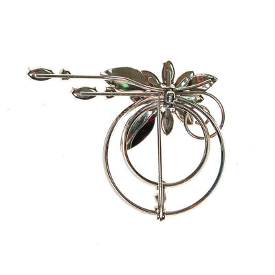 Krementz Silver and Rhinestone Spray Brooch, Pin, Floral, Wedding, Bridal by Krementz - Vintage Meet Modern - Chicago, Illinois