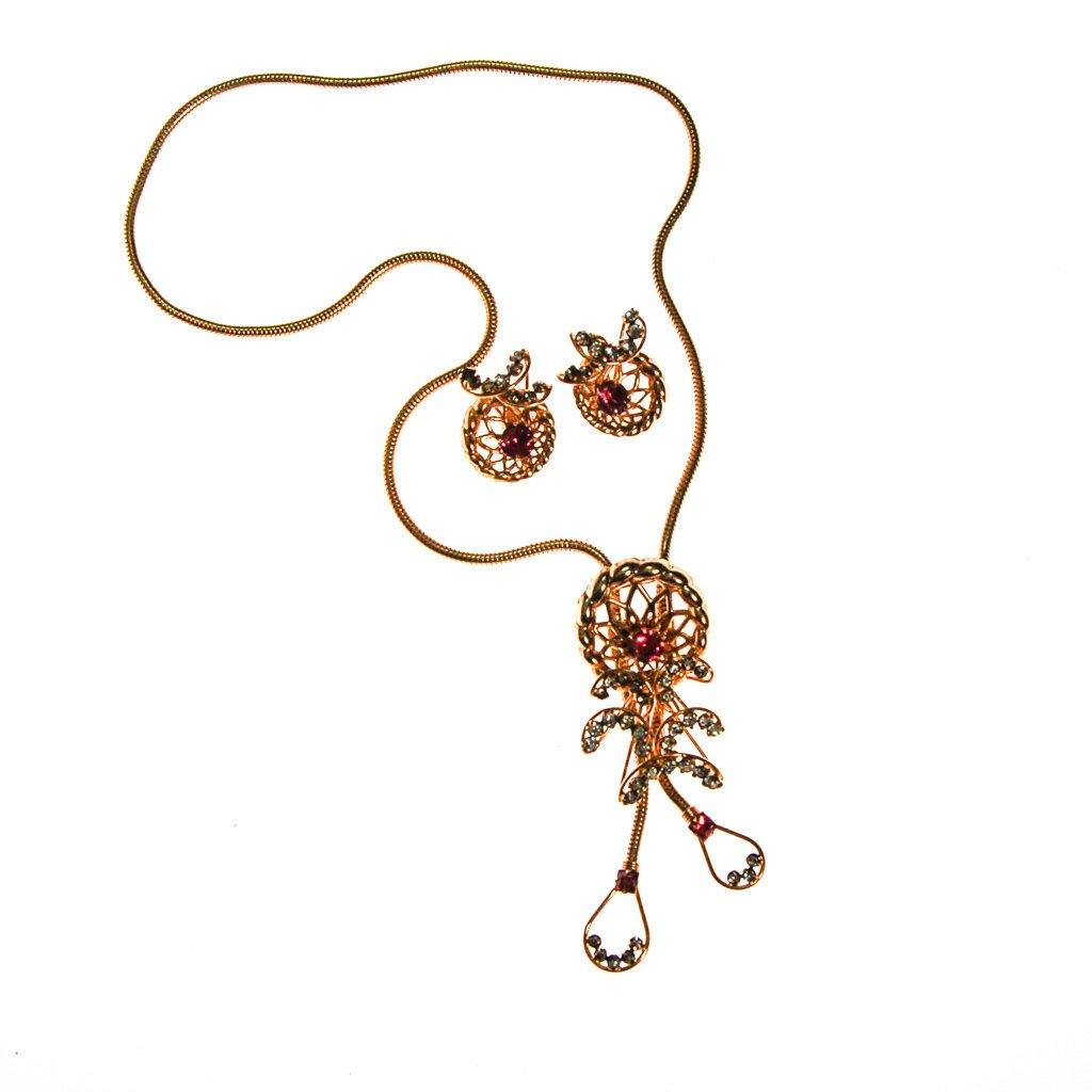 Pink Rhinestone Lariat Necklace and Earrings Set by Phyllis Originals - Vintage Meet Modern  - 2