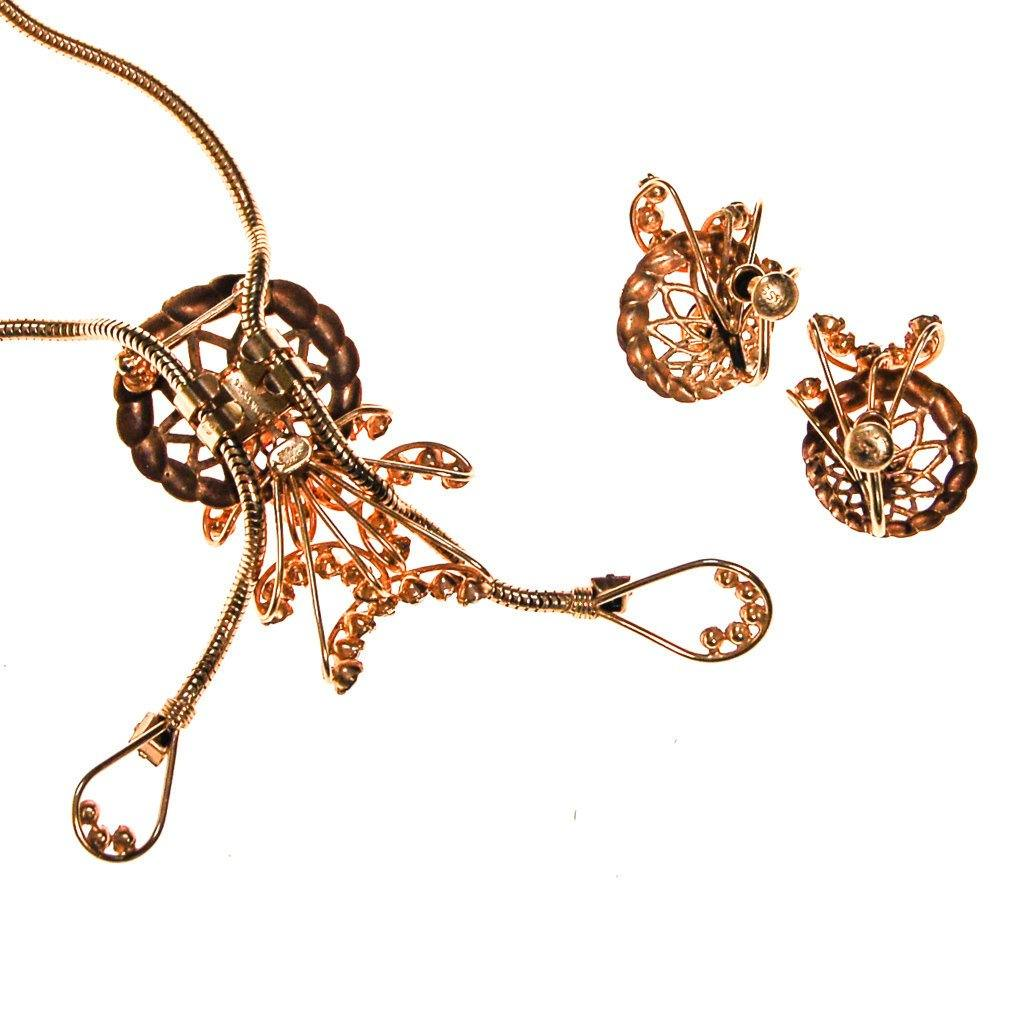 Pink Rhinestone Lariat Necklace and Earrings Set by Phyllis Originals - Vintage Meet Modern  - 4