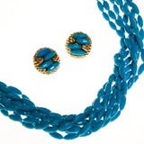 Turquoise Rice Bead Torsade Necklace and Earring Set - Vintage Meet Modern  - 2