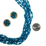 Turquoise Rice Bead Torsade Necklace and Earring Set - Vintage Meet Modern  - 5
