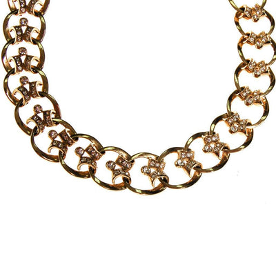 Gold Scroll Link Rhinestone Choker Necklace by 1950s - Vintage Meet Modern Vintage Jewelry - Chicago, Illinois - #oldhollywoodglamour #vintagemeetmodern #designervintage #jewelrybox #antiquejewelry #vintagejewelry