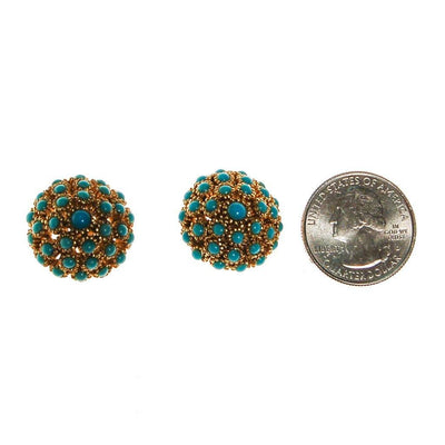 Turquoise Gold Dome Earrings by Unsigned Beauties - Vintage Meet Modern - Chicago, Illinois