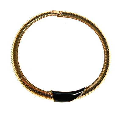 Gold and Black Collar Necklace by Monet by Monet - Vintage Meet Modern Vintage Jewelry - Chicago, Illinois - #oldhollywoodglamour #vintagemeetmodern #designervintage #jewelrybox #antiquejewelry #vintagejewelry