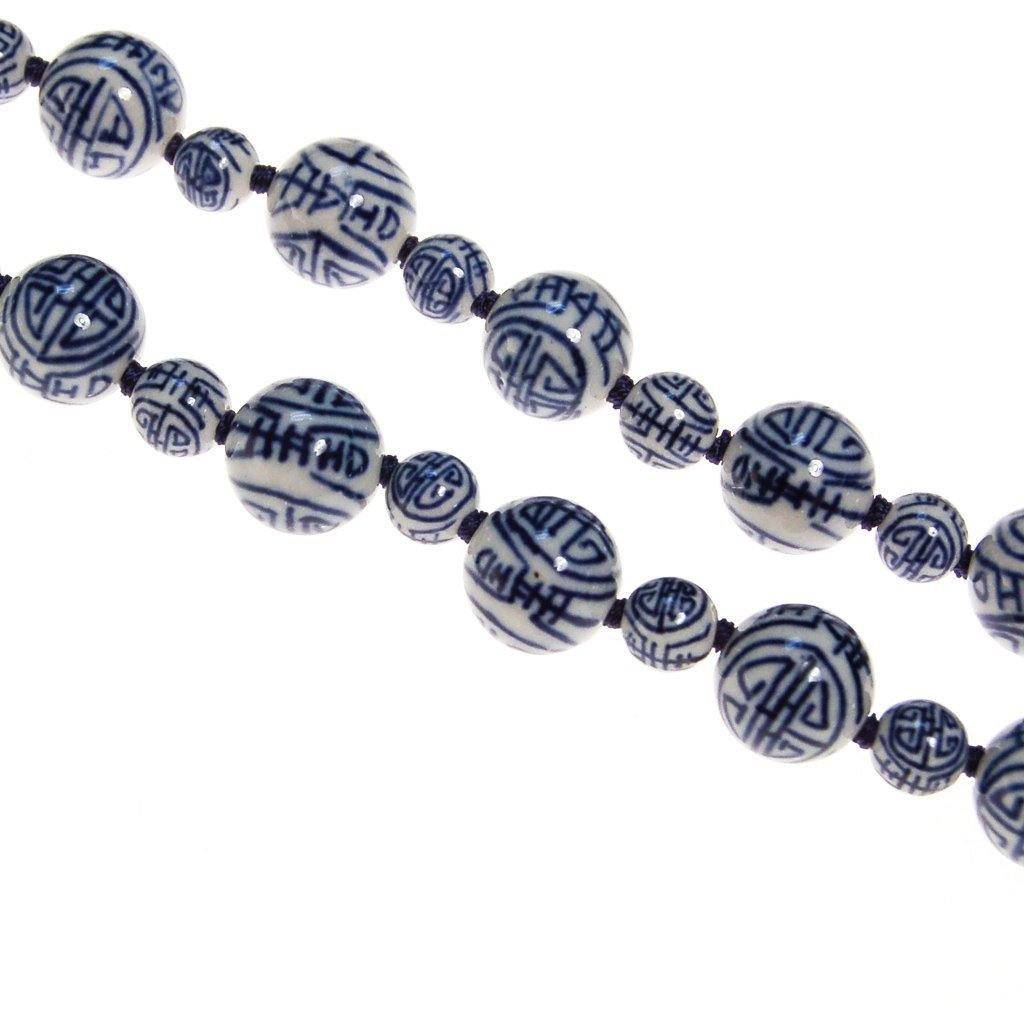 Chinese Export Blue and White Porcelain Bead Necklace - Vintage Meet Modern  - 5