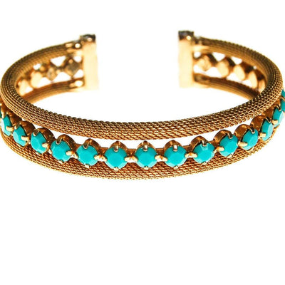 Gold and Turquoise Cuff Bracelet by Unsigned Beauty - Vintage Meet Modern Vintage Jewelry - Chicago, Illinois - #oldhollywoodglamour #vintagemeetmodern #designervintage #jewelrybox #antiquejewelry #vintagejewelry
