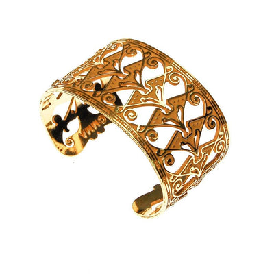 MMA Gold Wide Cuff Bracelet by Museum of Metropolitan Art - Vintage Meet Modern Vintage Jewelry - Chicago, Illinois - #oldhollywoodglamour #vintagemeetmodern #designervintage #jewelrybox #antiquejewelry #vintagejewelry