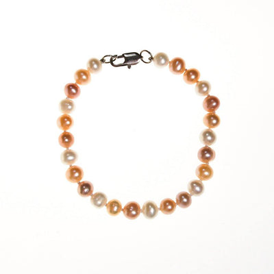 Pink, Peach, White, Freshwater Cultured Pearl Bracelet by Pearls - Vintage Meet Modern - Chicago, Illinois