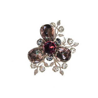 Purple and Smokey Gray Rhinestone Flower Brooch by Unsigned Beauty - Vintage Meet Modern Vintage Jewelry - Chicago, Illinois - #oldhollywoodglamour #vintagemeetmodern #designervintage #jewelrybox #antiquejewelry #vintagejewelry