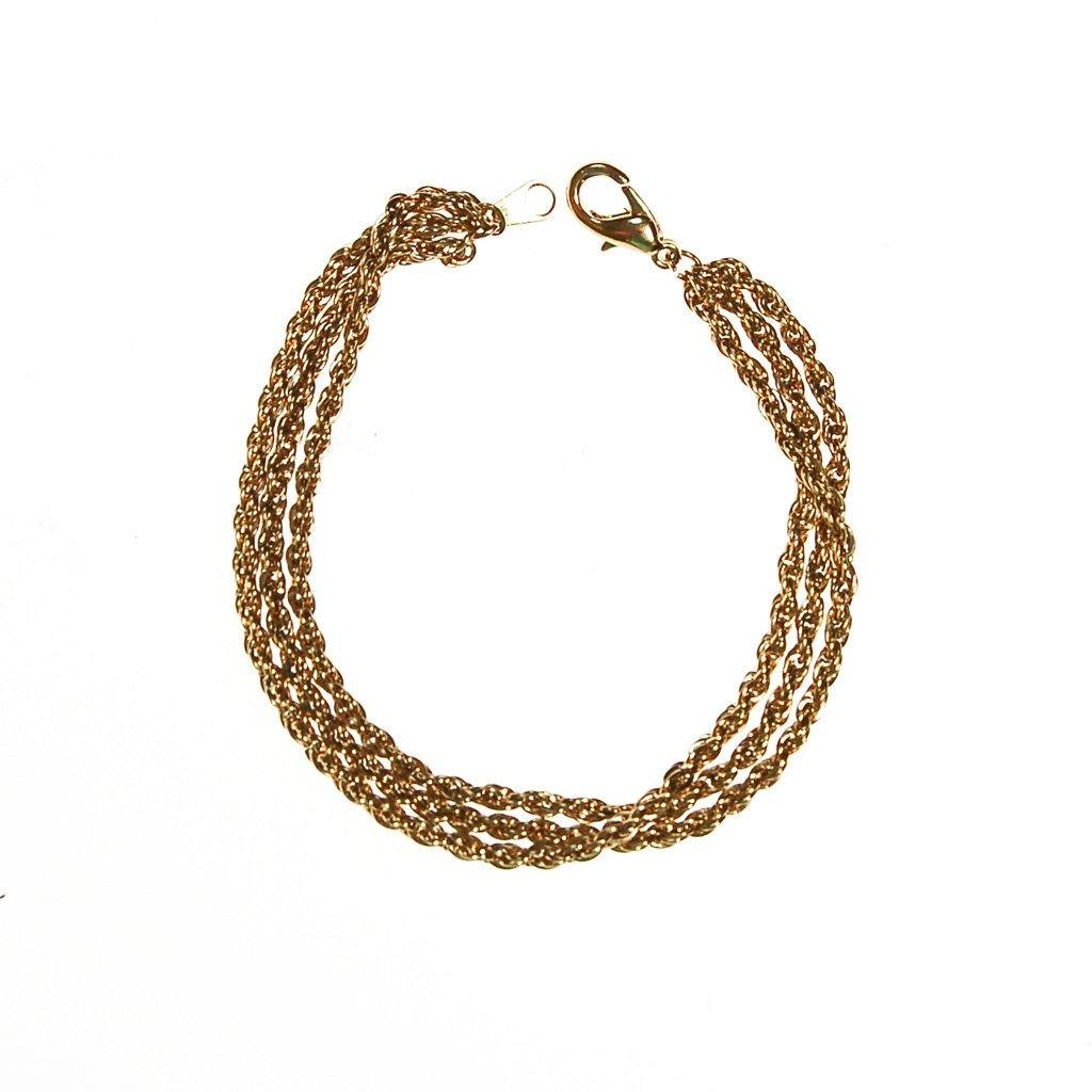 Gold Triple Chain Bracelet - Vintage Meet Modern  - 2