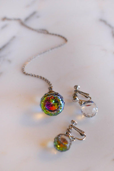 Crystal Ball Necklace and Earrings Set by Unsigned Beauty - Vintage Meet Modern - Chicago, Illinois