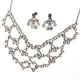 Art Deco Bezel Set Crystal Necklace and Earring Set - Vintage Meet Modern  - 2