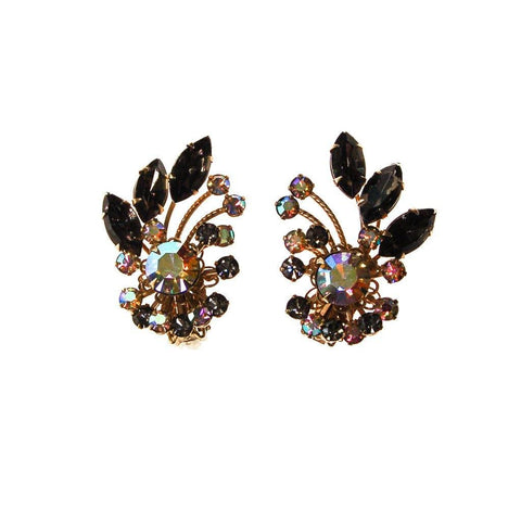 1980's Gunmetal Rhinestone Chandelier Earrings