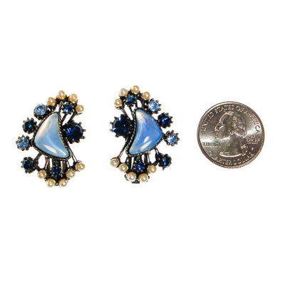 Florenza Blue Rhinestone and Faux Pearl Statement Earrings by Florenza - Vintage Meet Modern - Chicago, Illinois