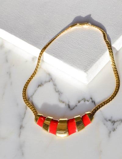 Gold and Red Napier Collar Necklace, 1970s by Napier - Vintage Meet Modern Vintage Jewelry - Chicago, Illinois - #oldhollywoodglamour #vintagemeetmodern #designervintage #jewelrybox #antiquejewelry #vintagejewelry