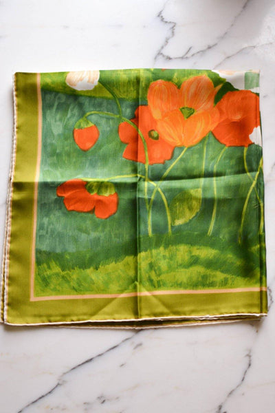 Kreier Orange Poppies Silk Scarf, Kreier, Scarf - Vintage Meet Modern