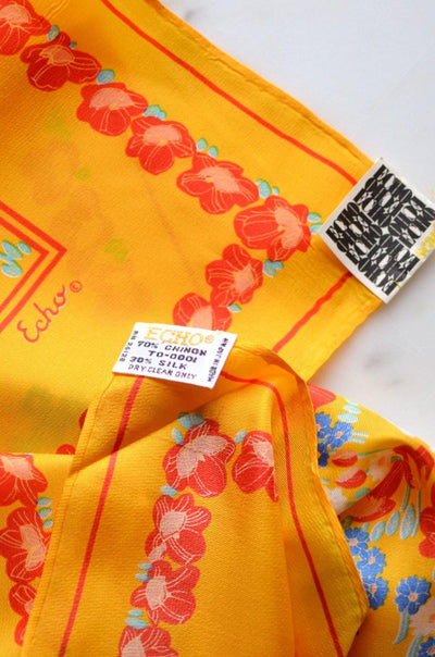 Echo Chinon Silk Scarf, Colorful, Bright, Yellow, Red, White, Square Shape, 1960s, Scarf - Vintage Meet Modern