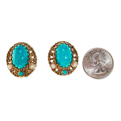 Turquoise, Pearl and Gold Filigree Earrings by West Germany - Vintage Meet Modern Vintage Jewelry - Chicago, Illinois - #oldhollywoodglamour #vintagemeetmodern #designervintage #jewelrybox #antiquejewelry #vintagejewelry