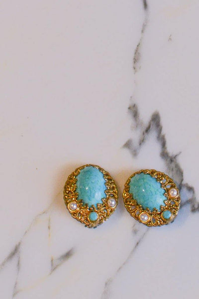 Turquoise, Pearl and Gold Filigree Earrings by West Germany - Vintage Meet Modern - Chicago, Illinois