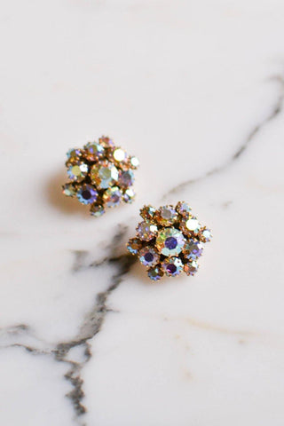 Blue Rhinestone Statement Earrings with Aurora Borealis Finish