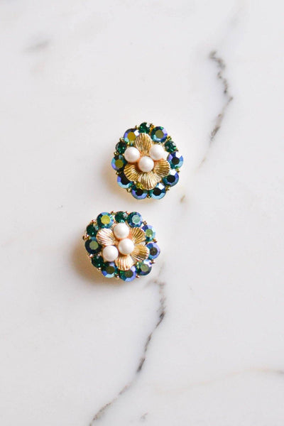 Pearl and Peacock Rhinestone Earrings by Unsigned Beauty - Vintage Meet Modern Vintage Jewelry - Chicago, Illinois - #oldhollywoodglamour #vintagemeetmodern #designervintage #jewelrybox #antiquejewelry #vintagejewelry