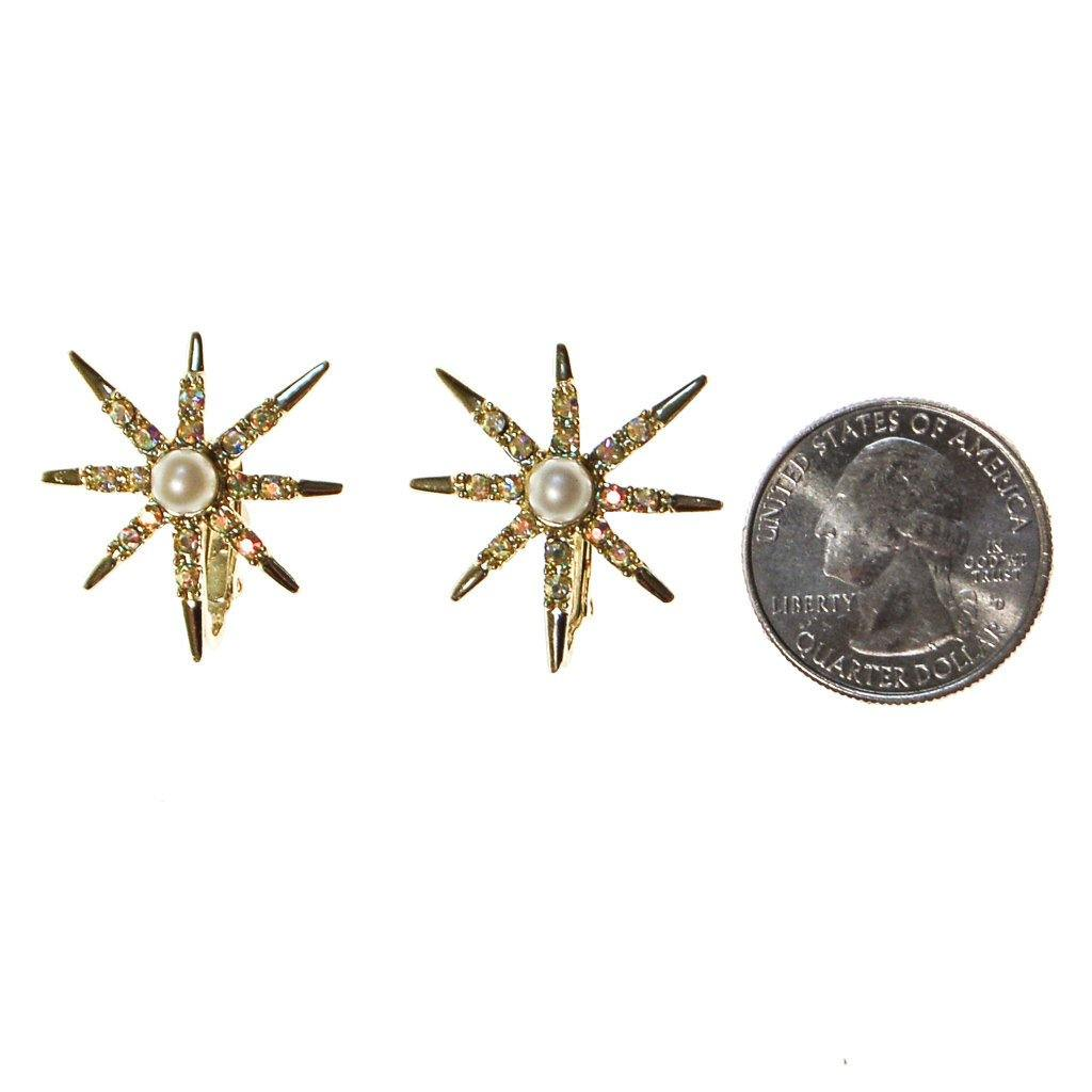 Judy Lee Gold Rhinestones Star Earrings - Vintage Meet Modern  - 2
