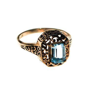 Sterling Silver Filigree with Blue Topaz Ring by Sterling Silver - Vintage Meet Modern Vintage Jewelry - Chicago, Illinois - #oldhollywoodglamour #vintagemeetmodern #designervintage #jewelrybox #antiquejewelry #vintagejewelry