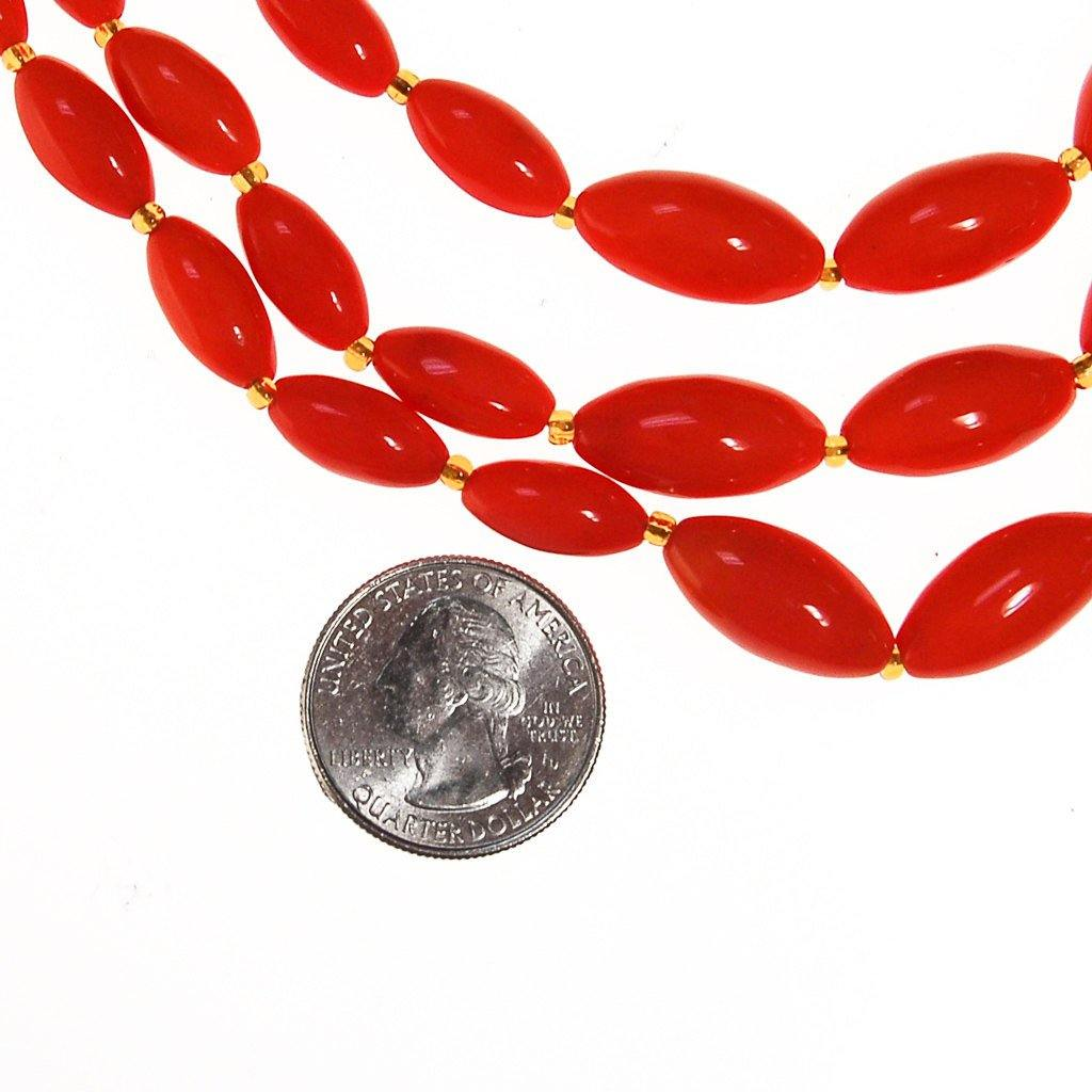 Coral Glass Bead Necklace, Triple Strand, Made in Austria - Vintage Meet Modern  - 4