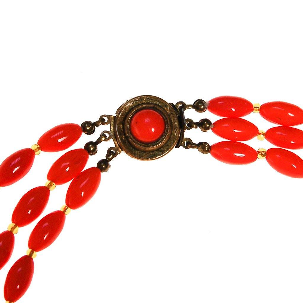 Coral Glass Bead Necklace, Triple Strand, Made in Austria - Vintage Meet Modern  - 3