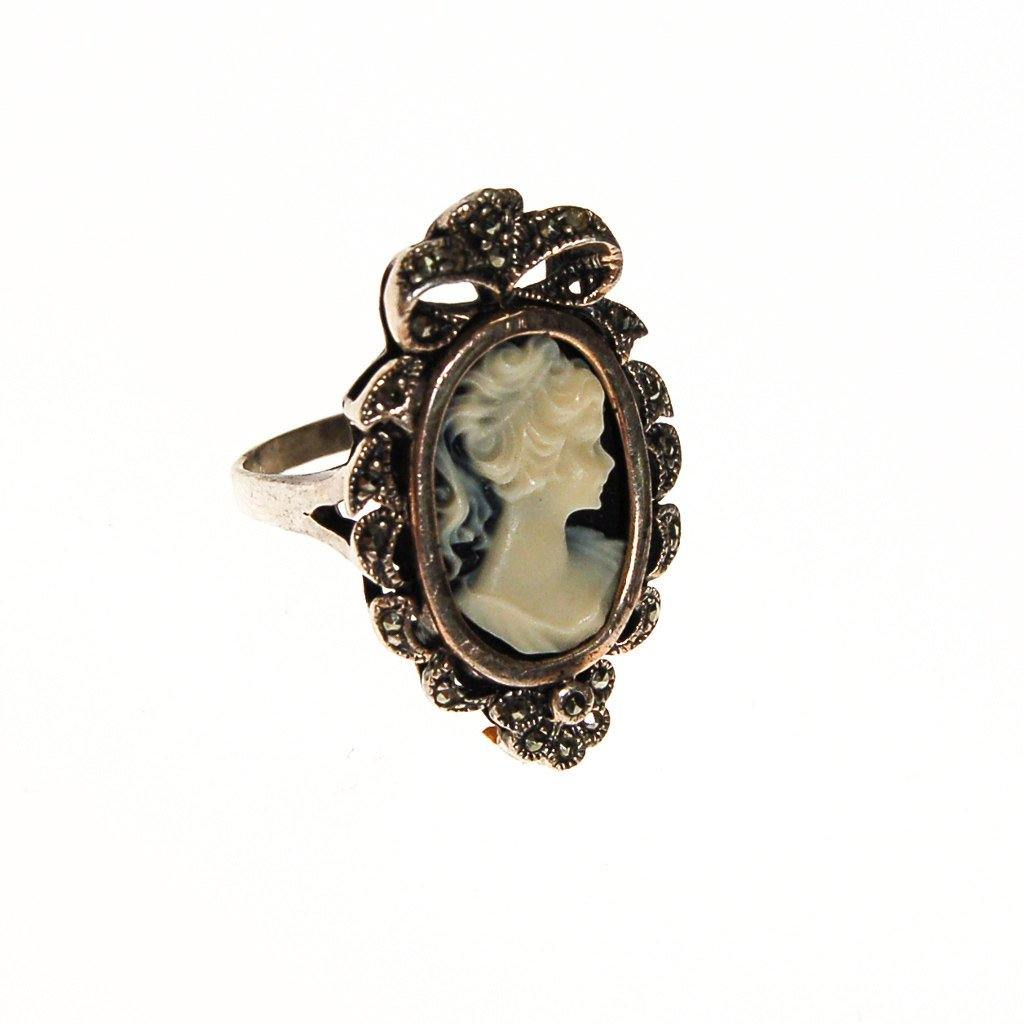 Victorian Cameo Ring, Marcasite, Sterling Silver, Statement Ring, Portrait Setting, Black and White, Ring Size 8 - Vintage Meet Modern  - 1