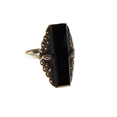 Art Deco Onyx and Marcasite Ring by Sterling Silver - Vintage Meet Modern Vintage Jewelry - Chicago, Illinois - #oldhollywoodglamour #vintagemeetmodern #designervintage #jewelrybox #antiquejewelry #vintagejewelry