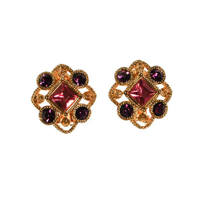 Pink and Purple Rhinestone Earrings by Unsigned Beauty - Vintage Meet Modern - Chicago, Illinois