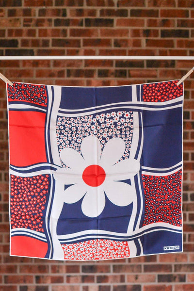 Red, White and Blue Daisy Silk Scarf by Kreier by Kreier - Vintage Meet Modern Vintage Jewelry - Chicago, Illinois - #oldhollywoodglamour #vintagemeetmodern #designervintage #jewelrybox #antiquejewelry #vintagejewelry