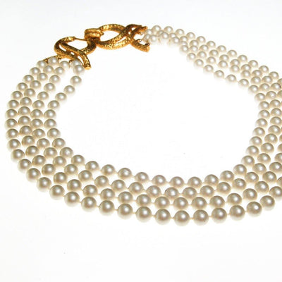 Geno Multi Strand Pearl Necklace with Gold Decorative Clasp by Geno - Vintage Meet Modern Vintage Jewelry - Chicago, Illinois - #oldhollywoodglamour #vintagemeetmodern #designervintage #jewelrybox #antiquejewelry #vintagejewelry