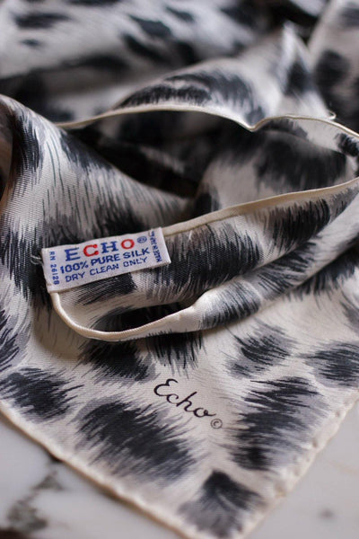 Black and White Leopard Silk Scarf by Echo by Echo - Vintage Meet Modern Vintage Jewelry - Chicago, Illinois - #oldhollywoodglamour #vintagemeetmodern #designervintage #jewelrybox #antiquejewelry #vintagejewelry