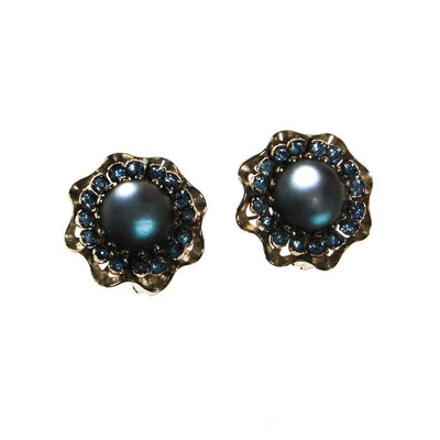 Blue Frosted Crystal Rhinestone Earrings by Unsigned Beauty - Vintage Meet Modern - Chicago, Illinois