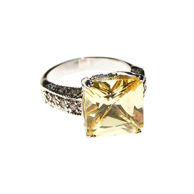 Yellow Diamond CZ and Pave CZ Engagement Ring by Unsigned Beauty - Vintage Meet Modern Vintage Jewelry - Chicago, Illinois - #oldhollywoodglamour #vintagemeetmodern #designervintage #jewelrybox #antiquejewelry #vintagejewelry